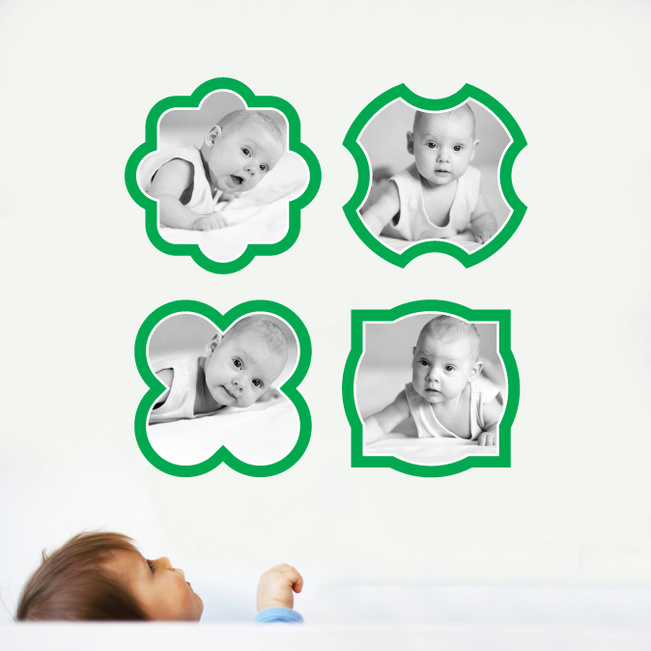 Fun, Modern Picture Frame Wall Decals - Green