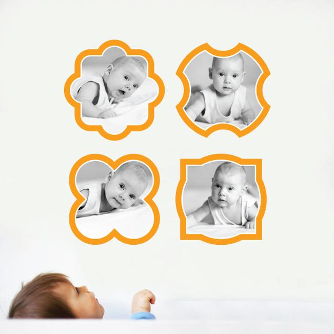 Fun, Modern Picture Frame Wall Decals - Orange