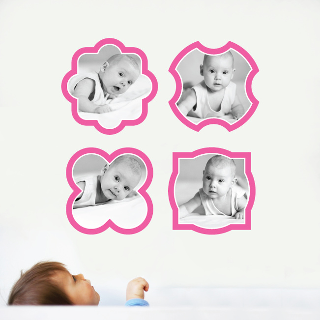 Fun, Modern Picture Frame Wall Decals - Pink