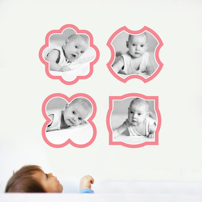 Fun, Modern Picture Frame Wall Decals - Red