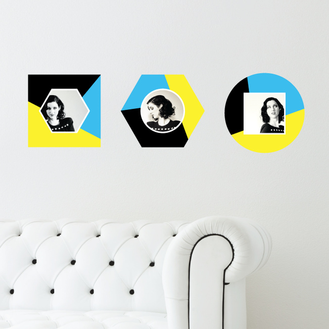 Geometric Color Block Photo Wall Decals - Blue