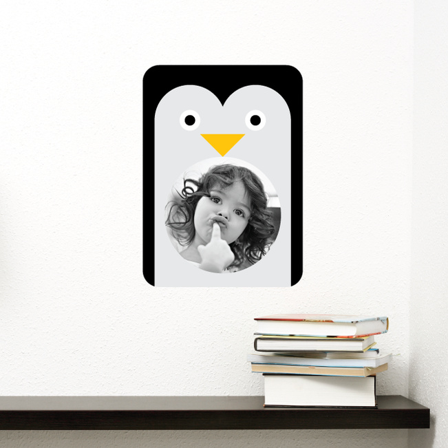 Happy Face, Not Happy Feet Penguin Wall Stickers - Black