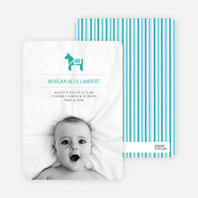 Quilted Horse Photo Announcement - Baby Blue