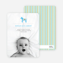 Quilted Horse Photo Birth Announcement - Yellow