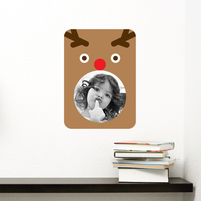 Rudolph the Red Nosed Photo Frame Stickers - Brown