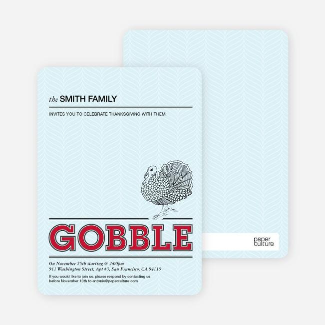 Gobble Gobble Thanksgiving Cards - Raspberry