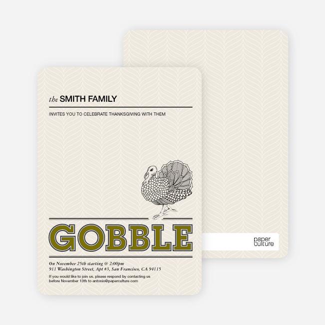 Gobble Gobble Thanksgiving Cards - Khaki