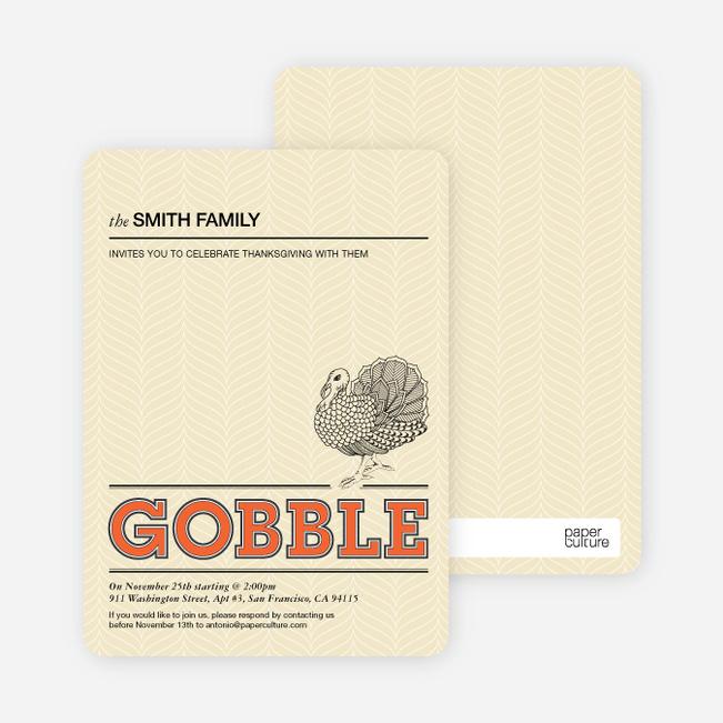 Gobble Gobble Thanksgiving Cards - Tangerine