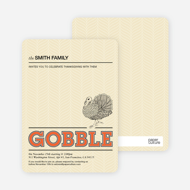 Gobble Gobble Thanksgiving Cards - Tangerine
