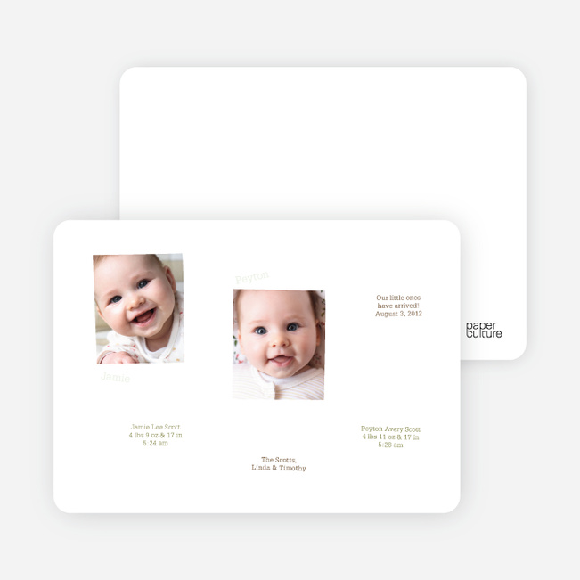 Twin Birth Announcements in Photo Frames - Light Mint