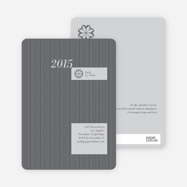 2012 Pattern New Year's Party Invitations - Silver Grey
