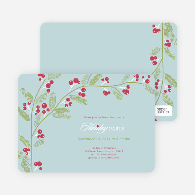 Berry Invite Holiday Invitations - Misty Sky