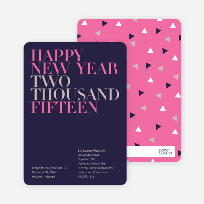Bold New Year's Eve Party Invitations - Plum