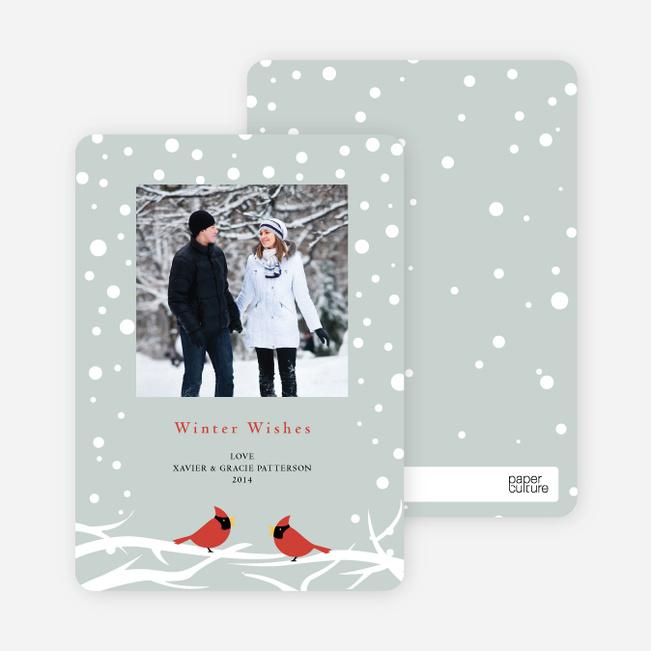 Cardinal Greetings Holiday Photo Cards - Pale Sage