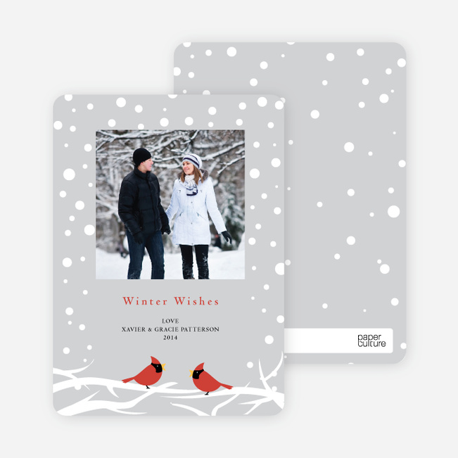 Cardinal Greetings Holiday Photo Cards - Nickel
