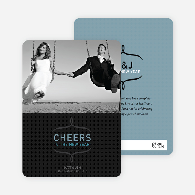 Cheers to the New Year Photo Card - Mystic Blue