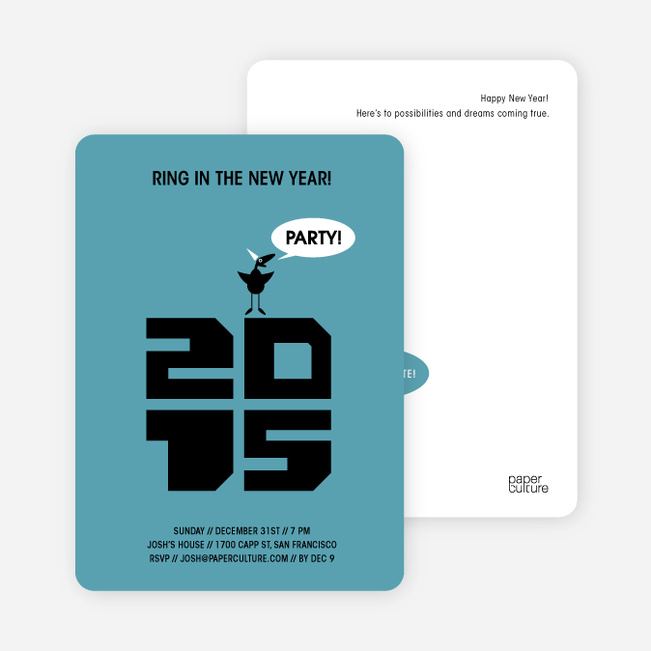 Chic New Year's Eve Party Bird Invitations - Cadet Blue