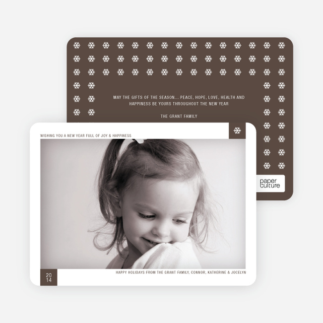 Classic Snowflake Holiday Photo Cards - Walnut