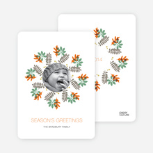 Mistletoe and Holly Wreath Christmas Cards - Tangerine
