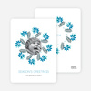 Mistletoe and Holly Wreath Christmas Cards - Cadet Blue