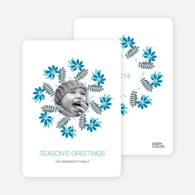 Mistletoe and Holly Wreath Christmas Cards - Cadet Blue