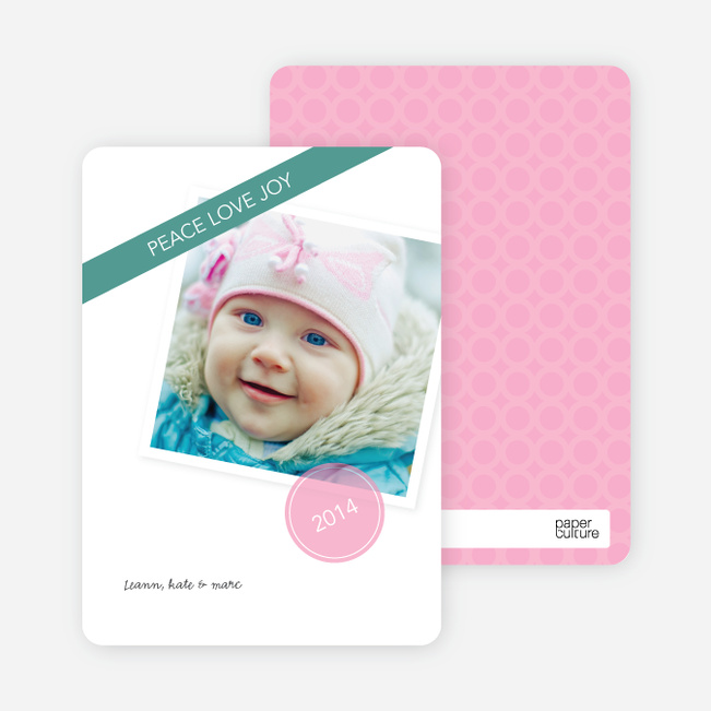Christmas Cards: Peace, Love & Joy - Pink