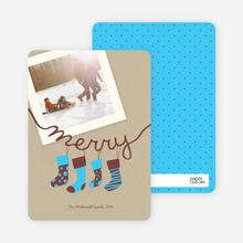 Merry Stockings Holiday Photo Cards - Baby Blue