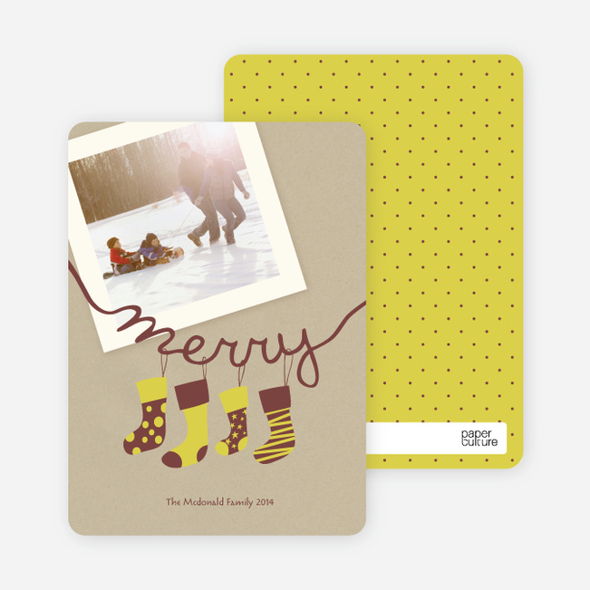 Merry Stockings Holiday Photo Cards - Chartreuse