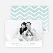 Chevron Winter Stripes Happy Holidays Cards - Blue