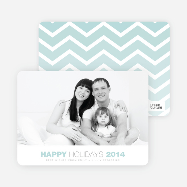 Chevron Winter Stripes Happy Holidays Cards - Blue