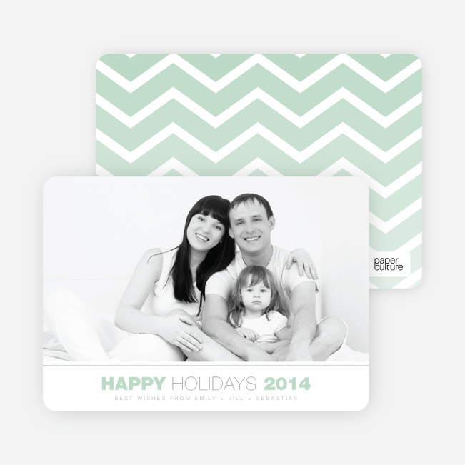 Christmas Greeting Cards: Chevron Stripes - Green
