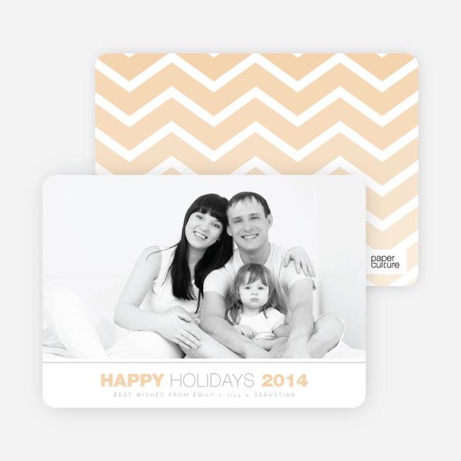 Chevron Winter Stripes Happy Holidays Cards - Orange