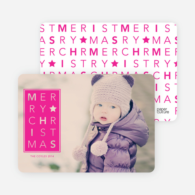 Chrstimas Cards: Merry Letters - Pink