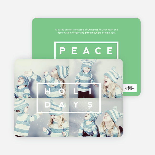 Holiday Block Photo Cards - Green