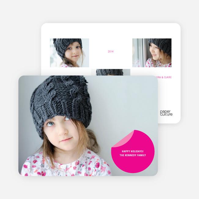 Circle Sticker Holiday Photo Cards - Shocking Pink