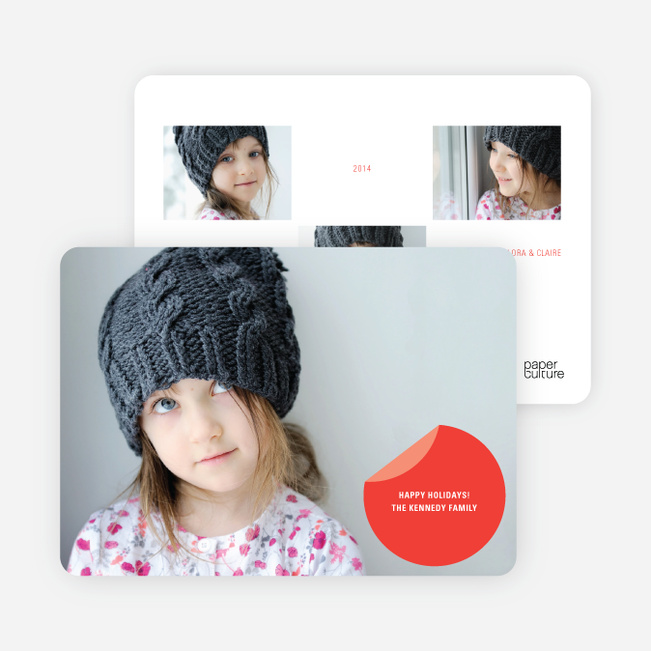 Circle Sticker Holiday Photo Cards - Cardinal Red
