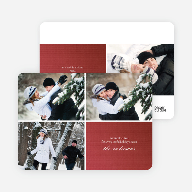 Fabric Circles Holiday Photo Cards - Burgundy