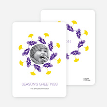 Pine Needles and Leaves Wreath Holiday Cards - Violet