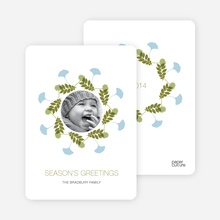 Pine Needles and Leaves Wreath Holiday Cards - Olive