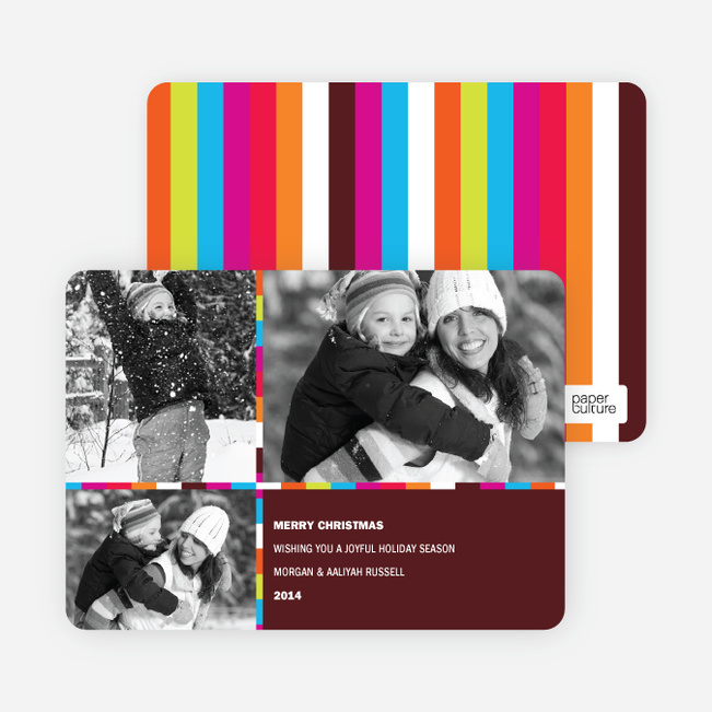 Holiday Greeting Cards: Rainbow Stripes - Chocolate