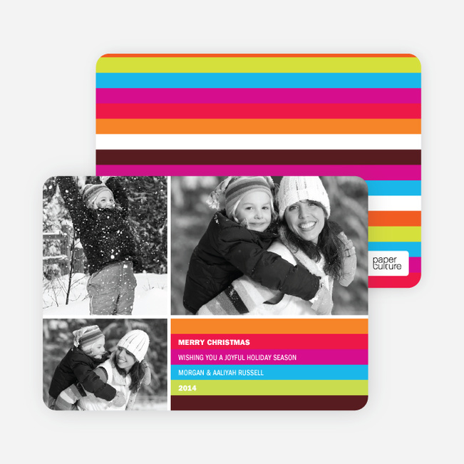 Holiday Greeting Cards: Rainbow Stripes - Magenta