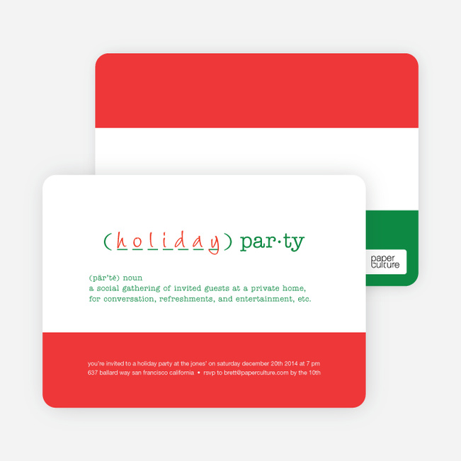 Holiday Party Definition Holiday Invitation - Cardinal