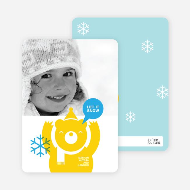 Burt the Bear Holiday Photo Card - Lemon Yellow