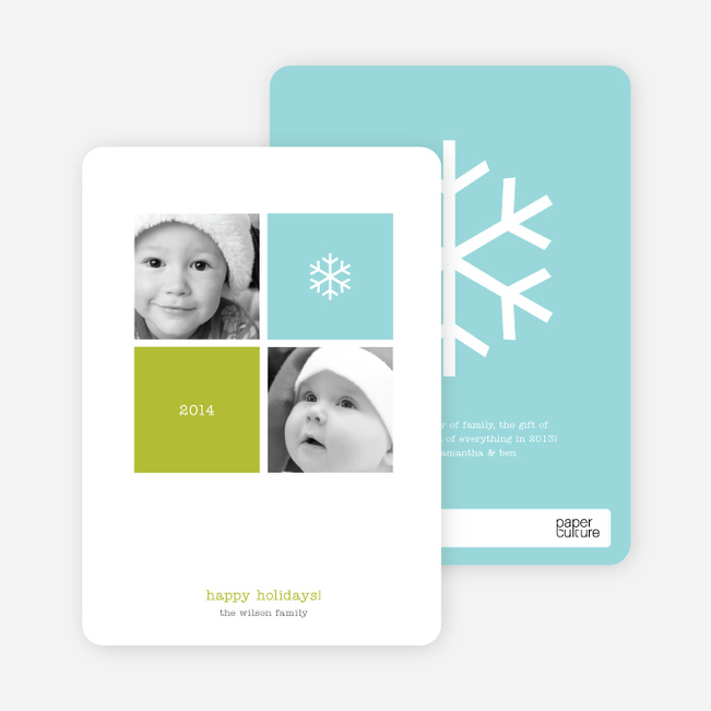 Multi Photo 4 Square Holiday Card - Airy Blue