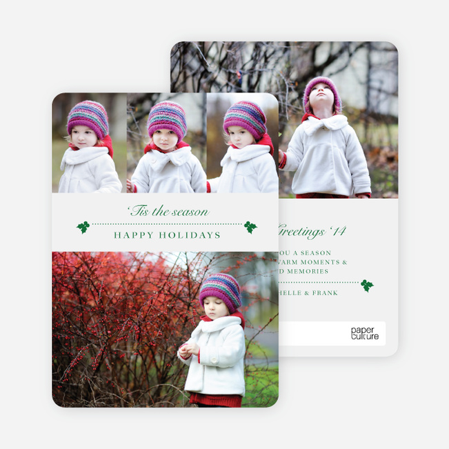 Holly Holidays Multi Photo Cards - Green