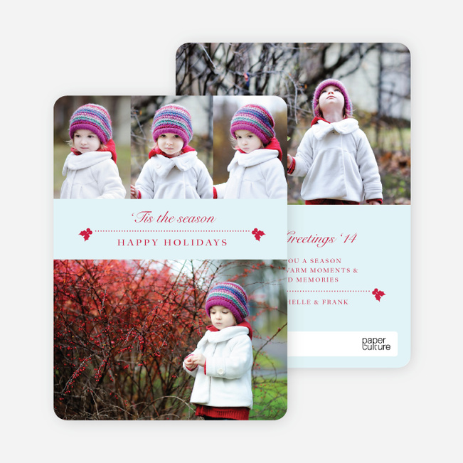 Holly Holidays Multi Photo Cards - Blue