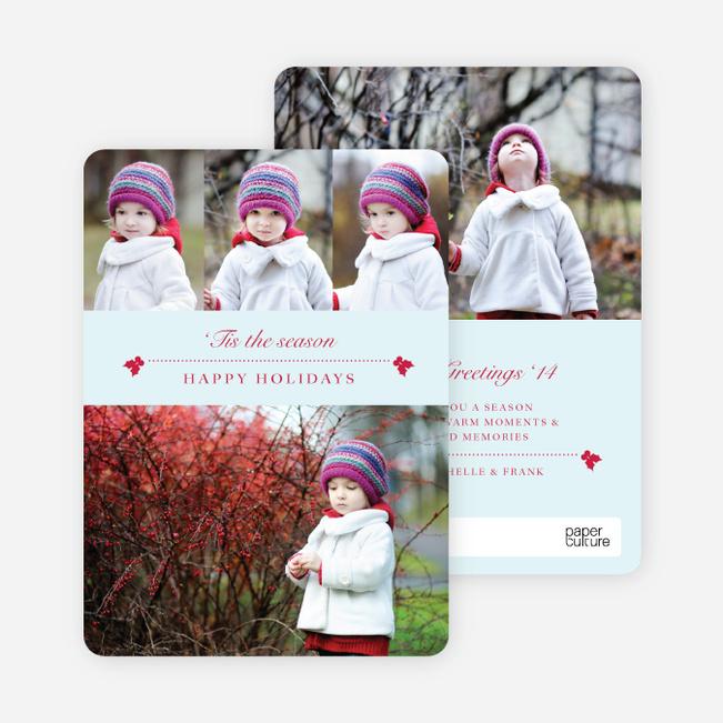 Holly Holidays Multi Photo Cards - Blue