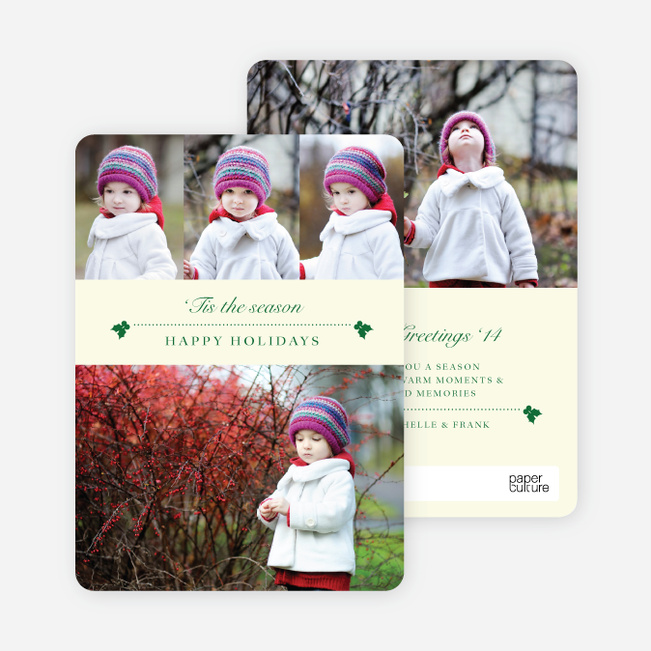 Holly Holidays Multi Photo Cards - Yellow