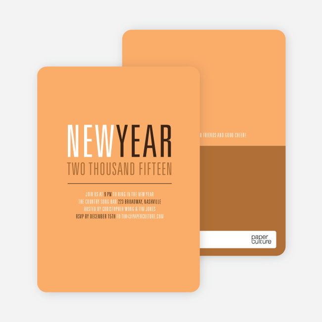 New Beginnings New Year's Invitations - Cantaloupe