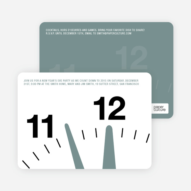 New Year's Eve Party Invitations: Countdown Clock - Grey